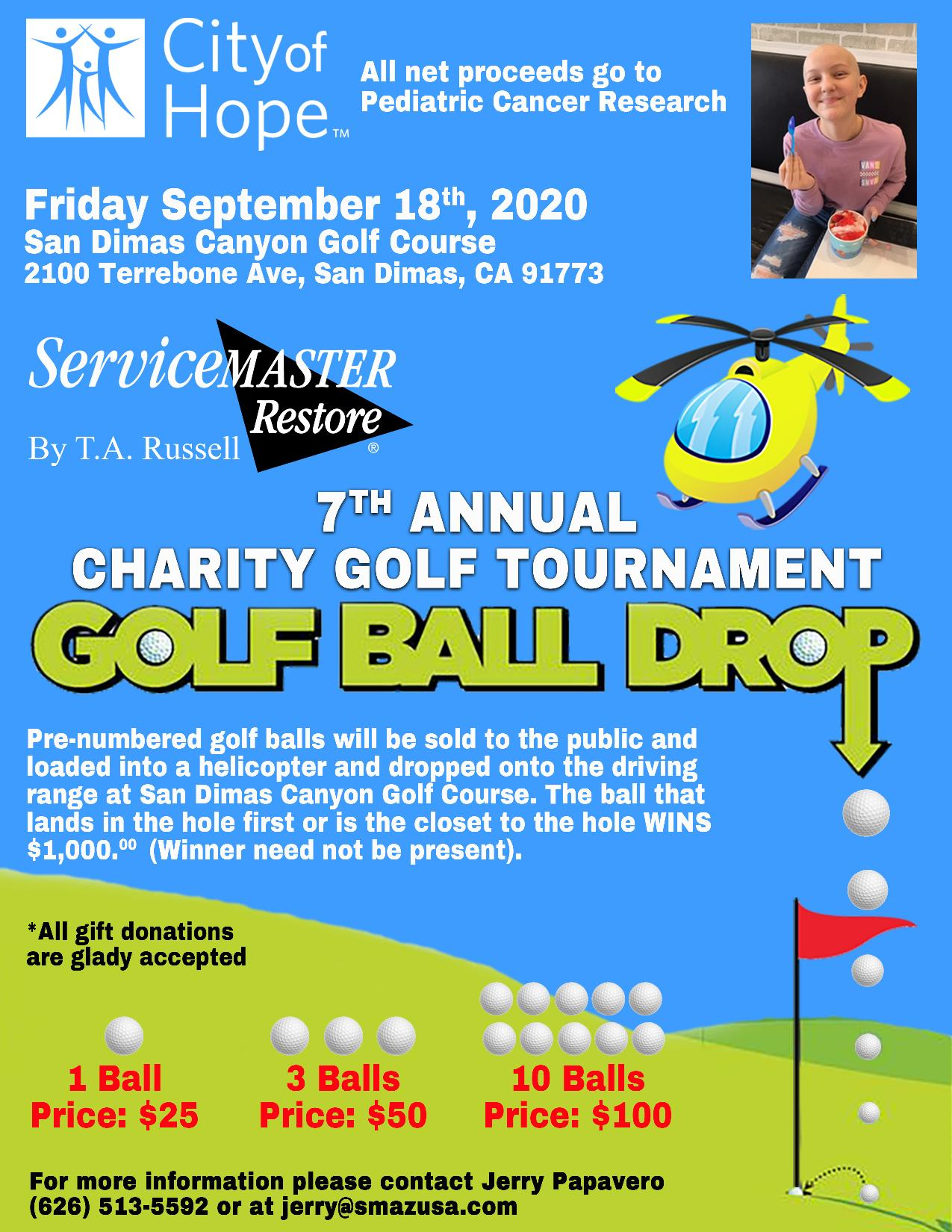 2020 Golf Tournament - helicopter Golf Ball Drop by ServiceMaster by T.A. Russell