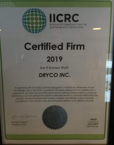 IICRC certificate for Dryco in Duluth, MN