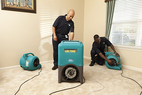 water damage - carpet drying