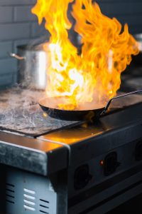 Fire burn is cooking on iron pan