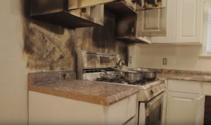 Fire damage restoration and cleanup in Marysville, CA by RestorationMaster - burnt stove and backsplash