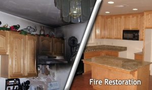 fire damage restoration in Mt. Sterling, IL to a kitchen by ServiceMaster Cleaning and Restoration