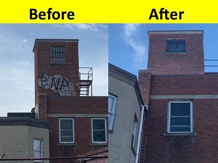 Media Blasting Vandalism Before After