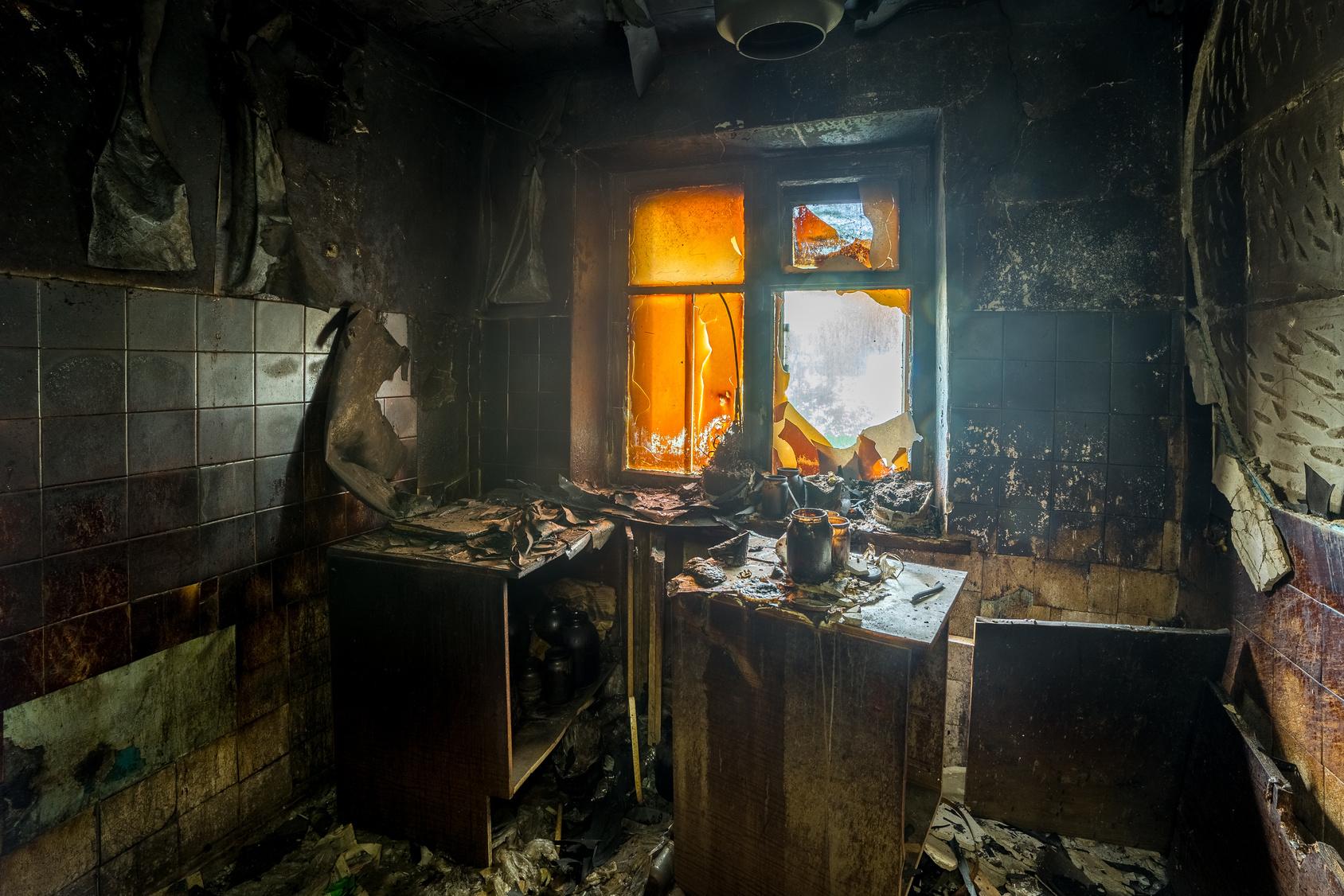 Burnt Apartment Kitchen