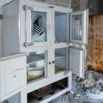 Fire Damaged Home with Damaged Cabinet