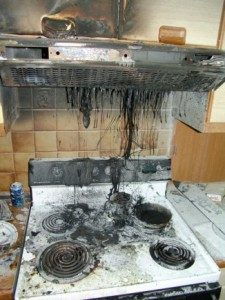 fire damage restoration in Peabody, MA - burnt stove