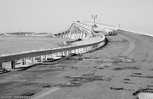 The ferry bridge in Hoopersvile, MD damaged by a storm