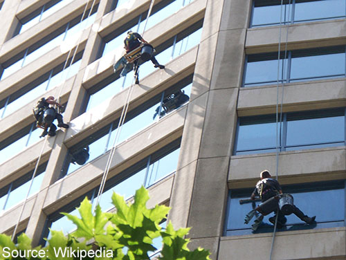 window cleaners at work