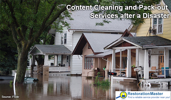 content cleaning and pack-out after flood