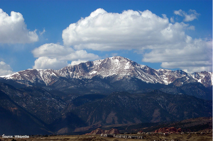 Pikes Peak from the University of Colorado at Colorado Springs, CO