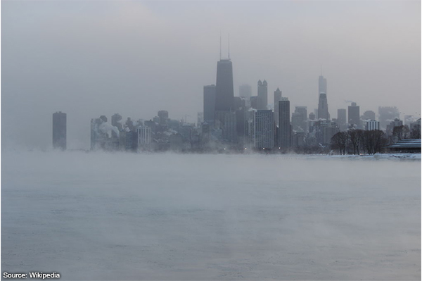 Chicago during early North Amercian cold wave