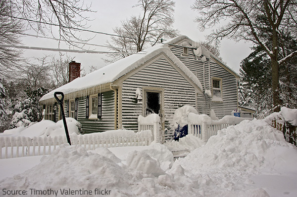 Too much snow and ice can cause water damage to your property when melting.