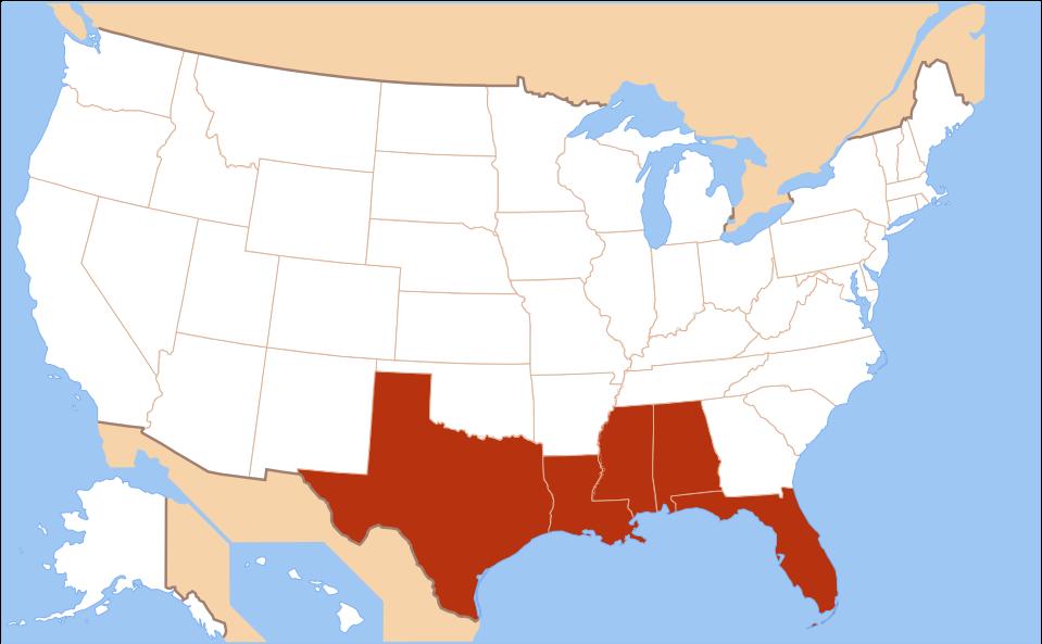 US Gulf Coast map
