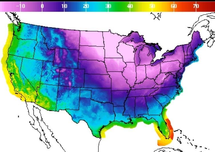 USA freezing temperatures
