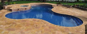 golden travertine pool deck