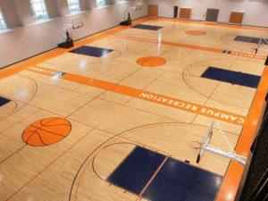 Hardwood gym flooring