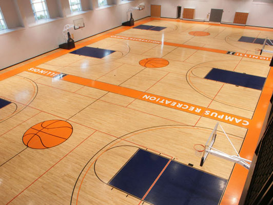 Hardwood gym floor