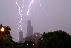 Lightning strikes the top of the Willis Tower in Chicago Source: Flickr