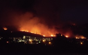 wildfire approaching town