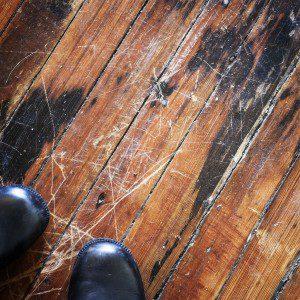 scratched hardwood floor