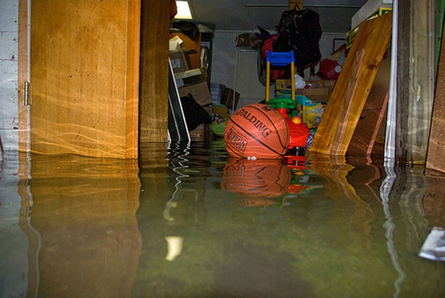 water damage in the basement