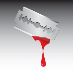 Razor with drop of blood isolated on white background. Vector illustration