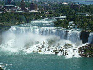 View of Niagara Falls, NY from Niagara Falls Ontario.