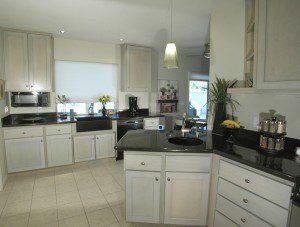 Black granite countertop in a kitchen