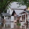 Flooded street and houses
