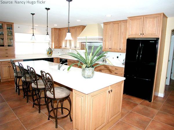Porcelain tile flooring is both elegant and practical.