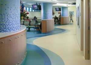 Rubber floors are used in commercial settings including medical clinics and retail stores.