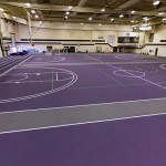 Rubber flooring for the fieldhouse at Albion College.