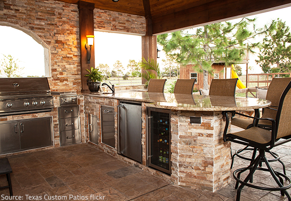 Quartz countertops have become a common element of outdoor kitchens.