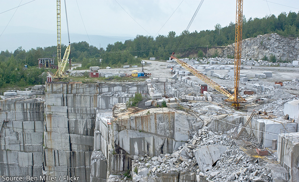 The environmental impact of granite quarries is significant.
