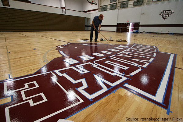 You can get creative when refinishing a gym floor.
