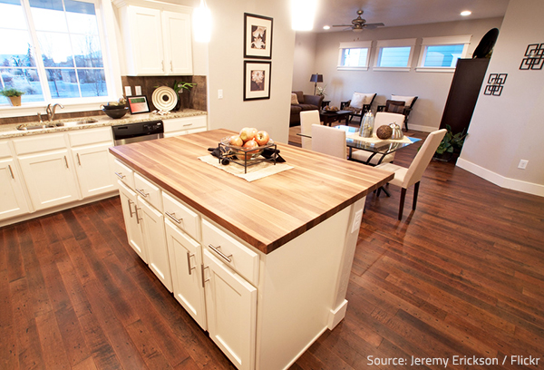 Wood like tile is a great option for open layout homes.
