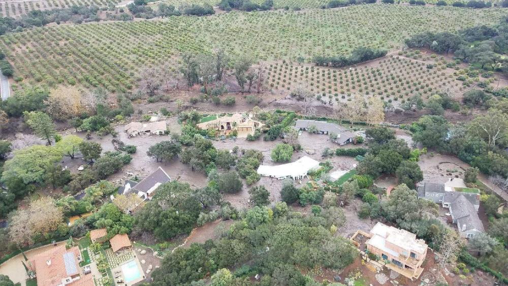 Mudslide affects Santa Barbara County neighborhood.