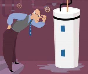 Man-Inspecting-Leaking-Water-Heater