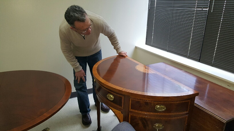 Furniture Medic team refinishing wood furniture in West Chicago IL