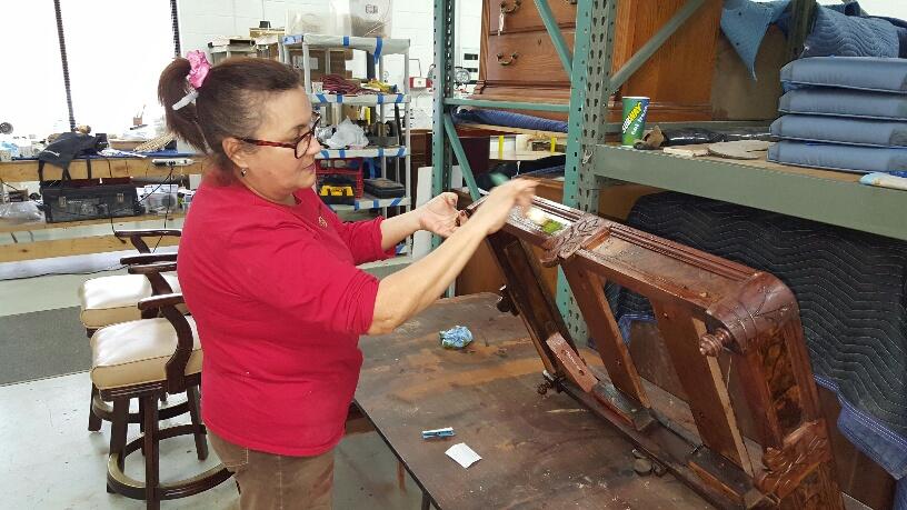 Furniture Medic team restoring wood furniture in West Chicago IL