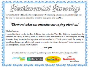 CE classes testimonial