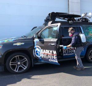 Ryan Mason Disinfecting Weather Tracker Vehicles