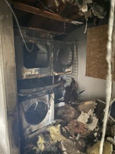 Fire Damage in Laundry Room