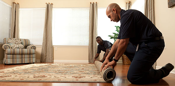 Residential Carpet Cleaning Services in Stoneham, MA by ServiceMaster by Disaster Associates, Inc. - ServiceMaster techs rolling up a rug