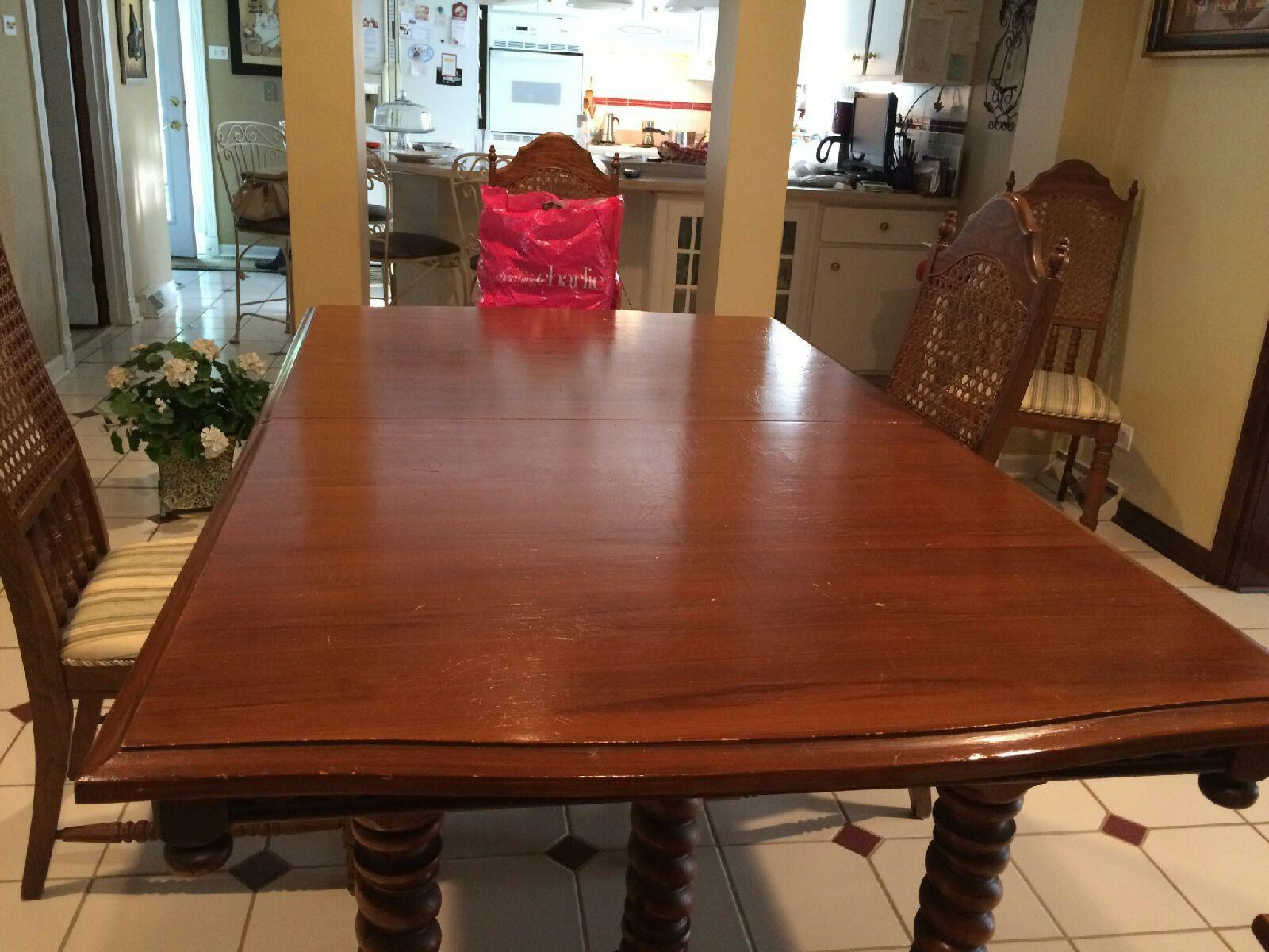 Perfect Wooden Table And Chairs Restoration   Before In West Chicago And Carol