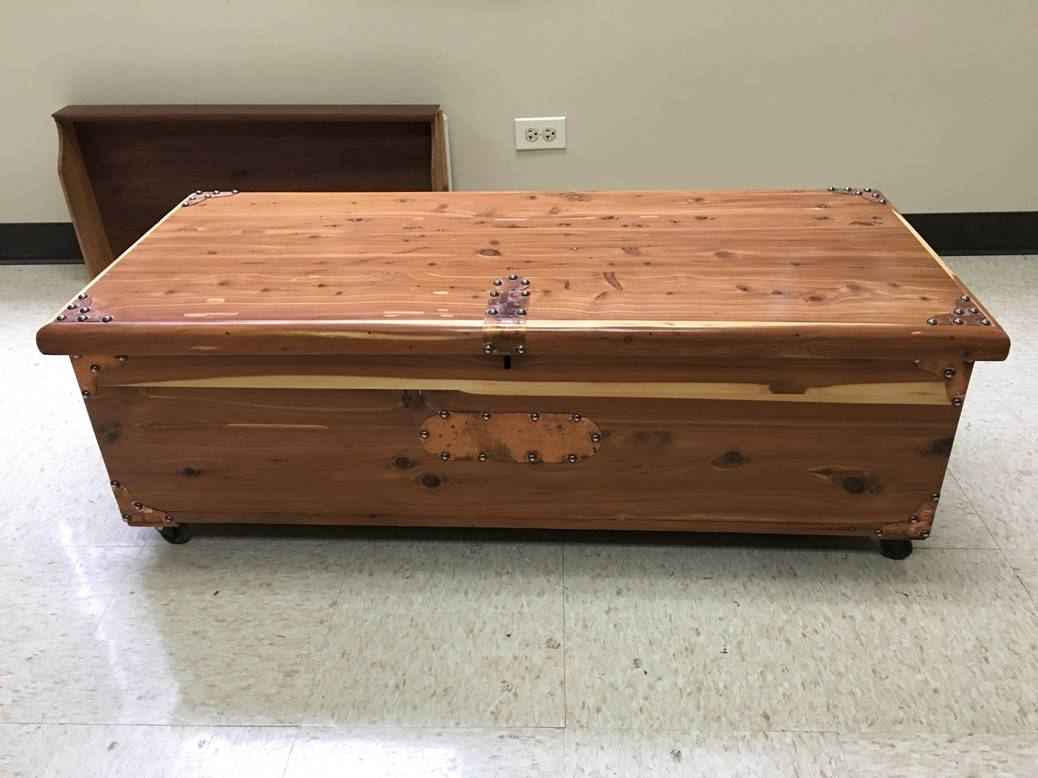 Wooden Antique Storage Chest After Restoration - Furniture Medic in West Chicago IL