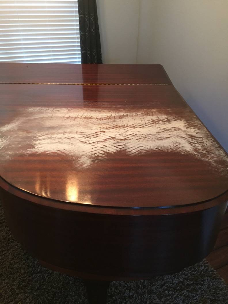 Piano Before Restoration - Furniture Medic West Chicago IL